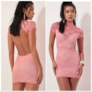 💗Open Back Lace Dress in Coral💗